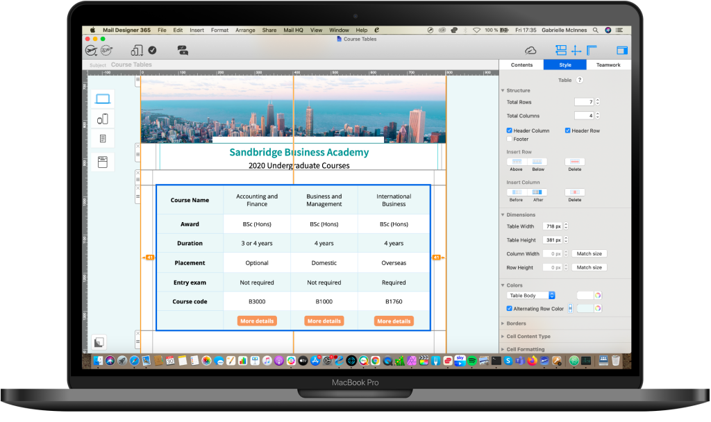 educational email design with table layout