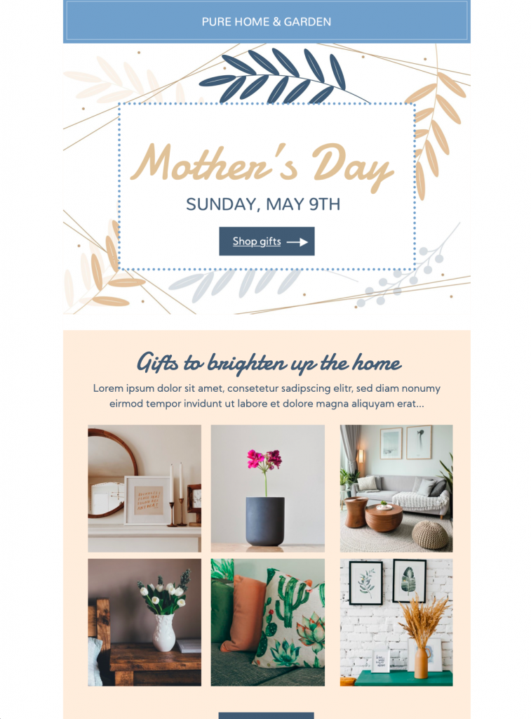 Mother's Day gifting html email template in Mail Designer 365