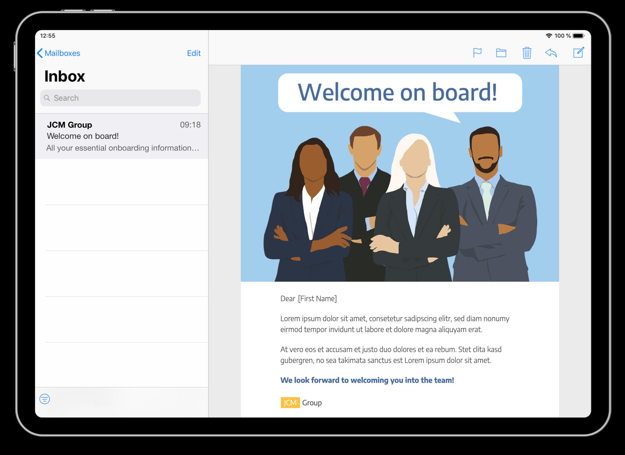 onboarding email designed in mail designer 365