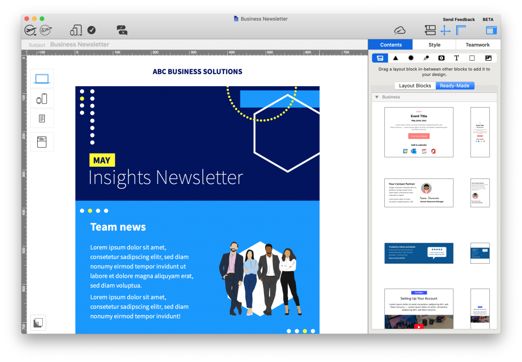 new ready-made layouts in mail designer 365 2.4