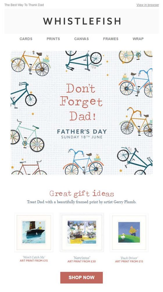 Father's Day email by Whistlefish