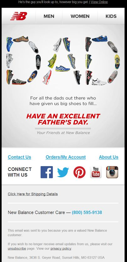New Balance email campaign for Father's Day