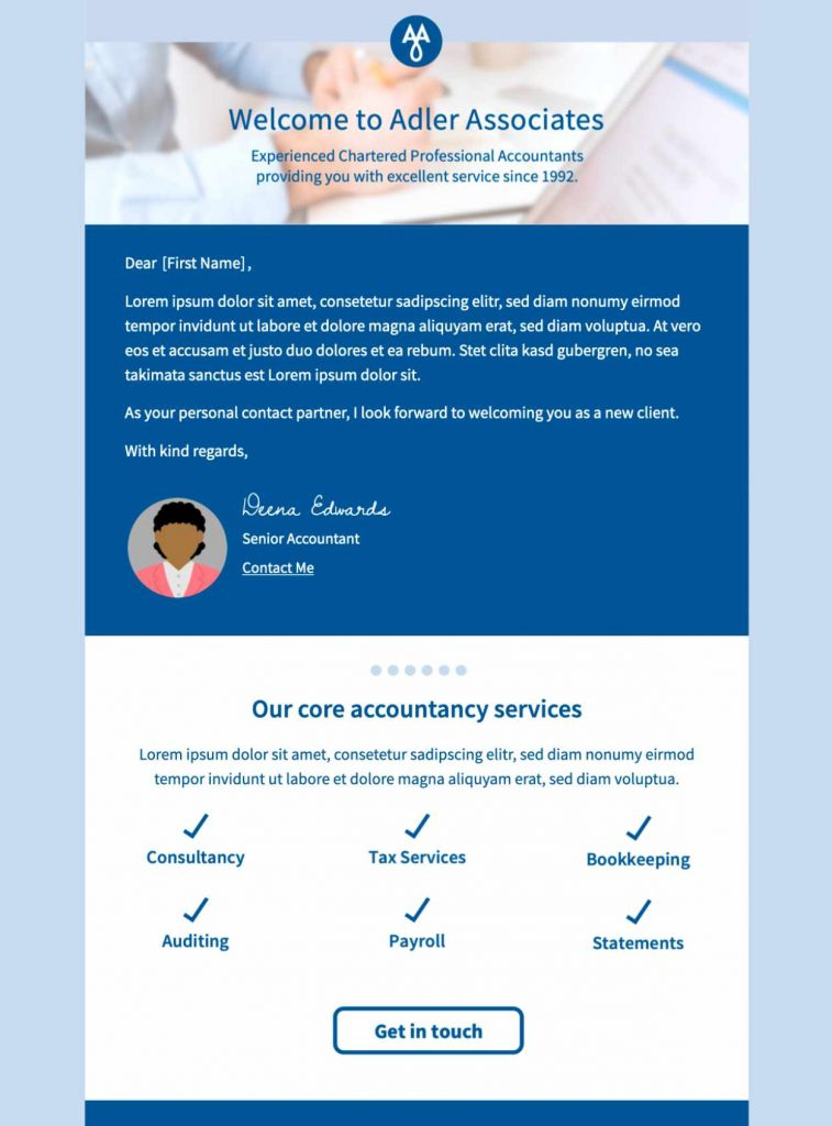 html email template for client onboarding