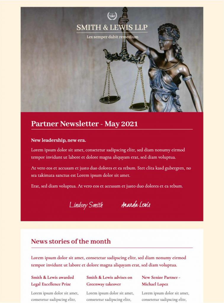 email template for law firms and legal professionals