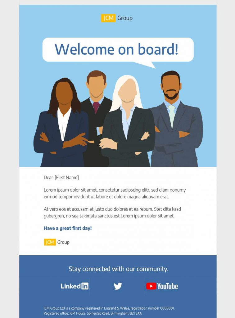 team onboarding html email template for businesses