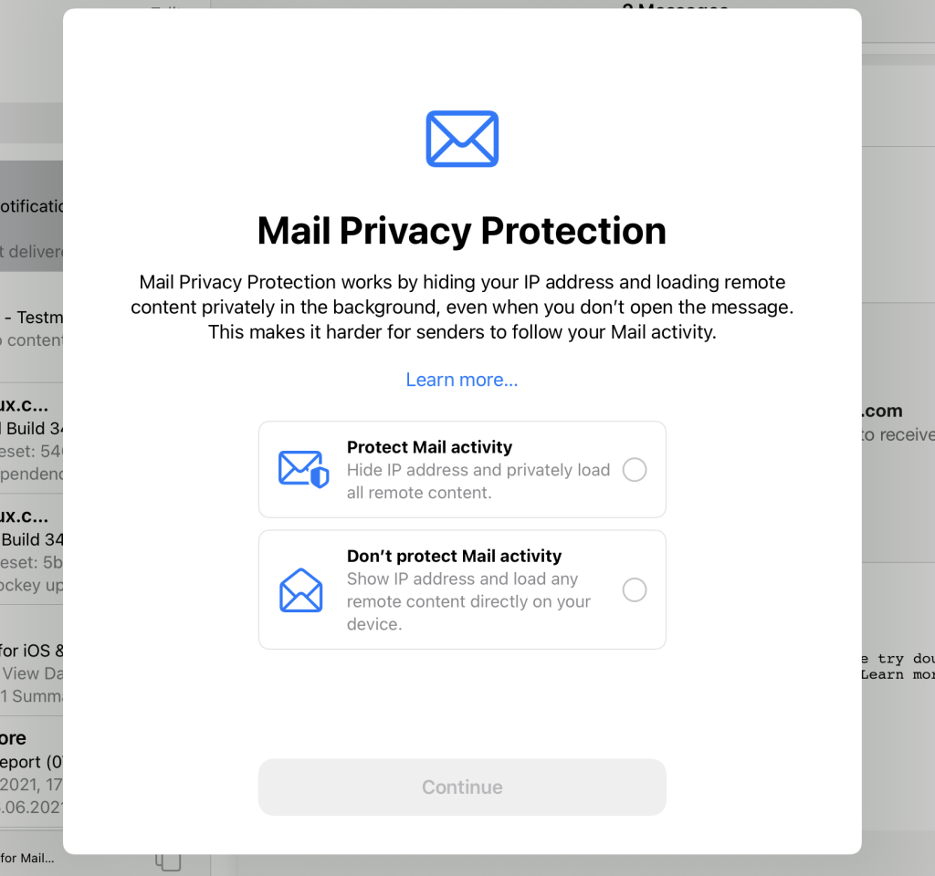 mail privacy protection settings in macOS Monterey