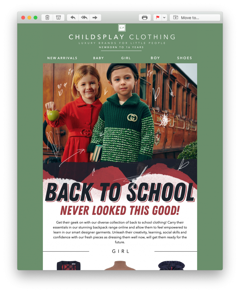 back to school email campaign by childsplay clothing