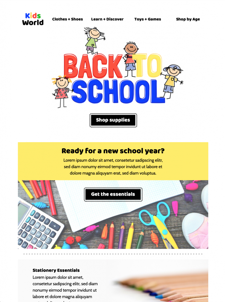 back to school shopping email template