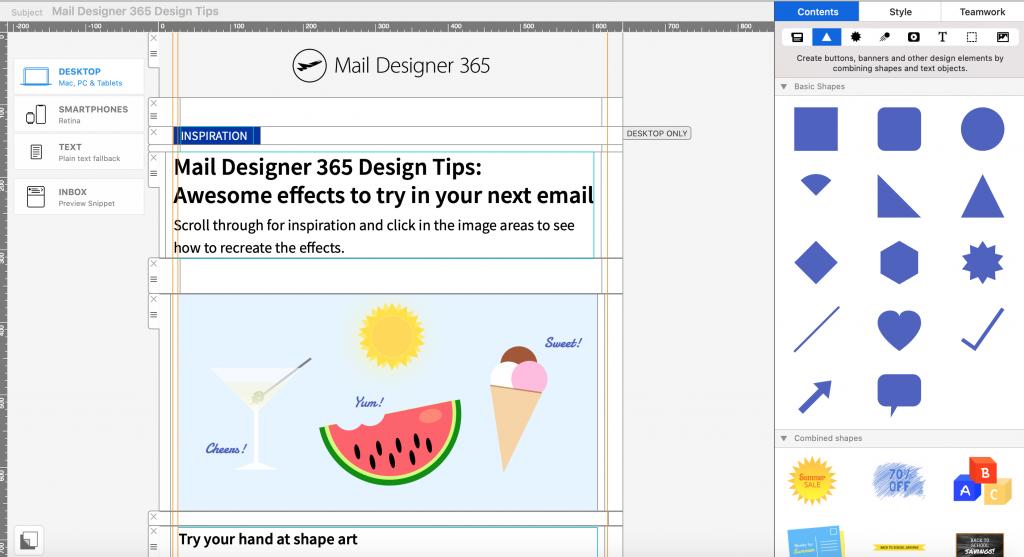new design tip for shape art in mail designer 365