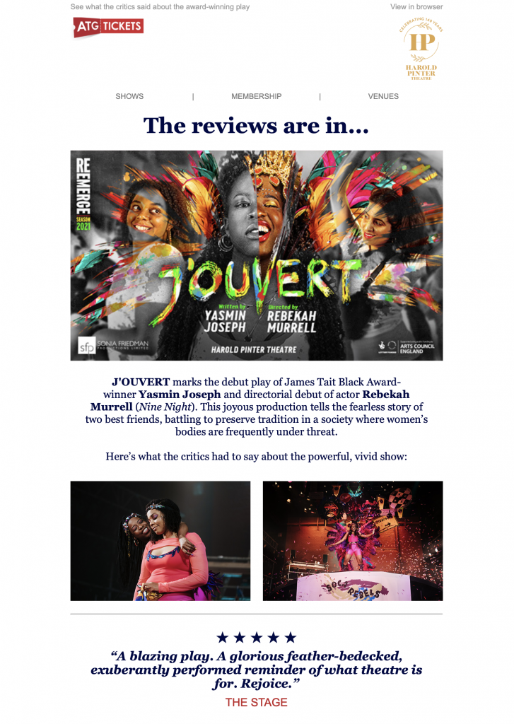 email newsletter by ATG tickets
