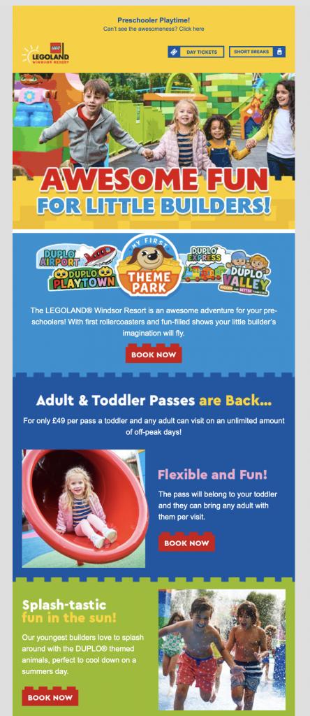 fun email design by Legoland
