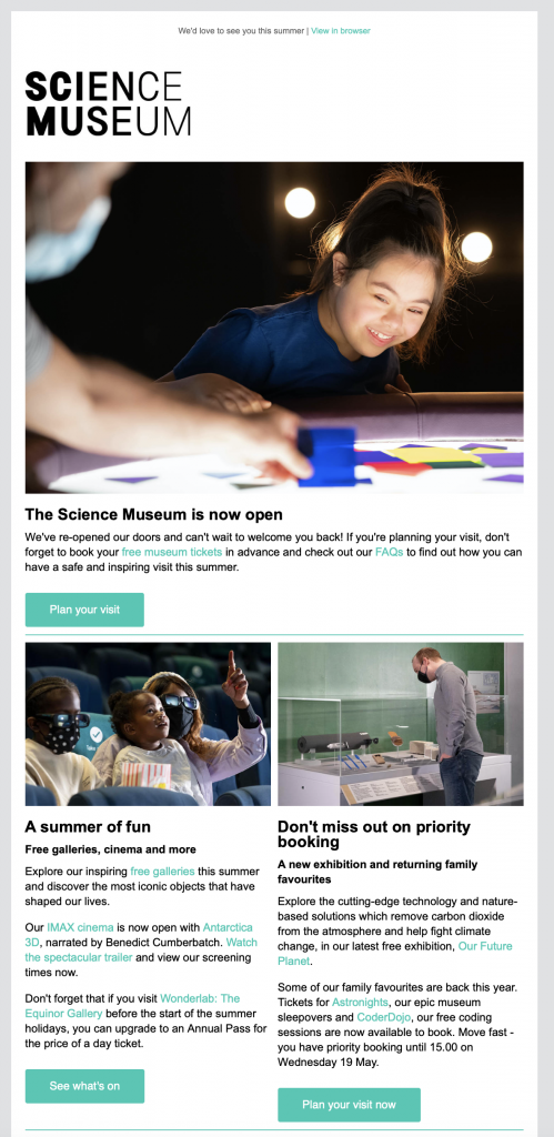 email newsletter by London science museum