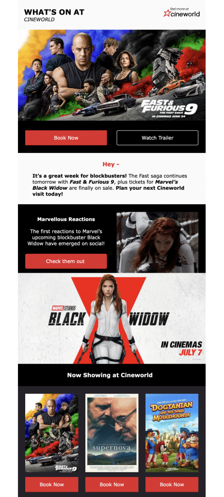 email newsletter by cineworld