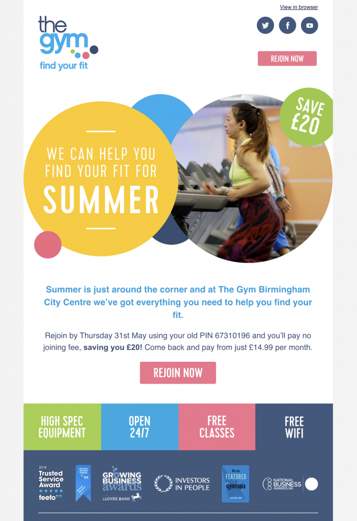 email promotion by the gym group