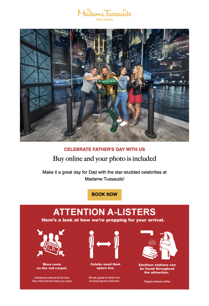 seasonal email campaign by Madame Tussauds