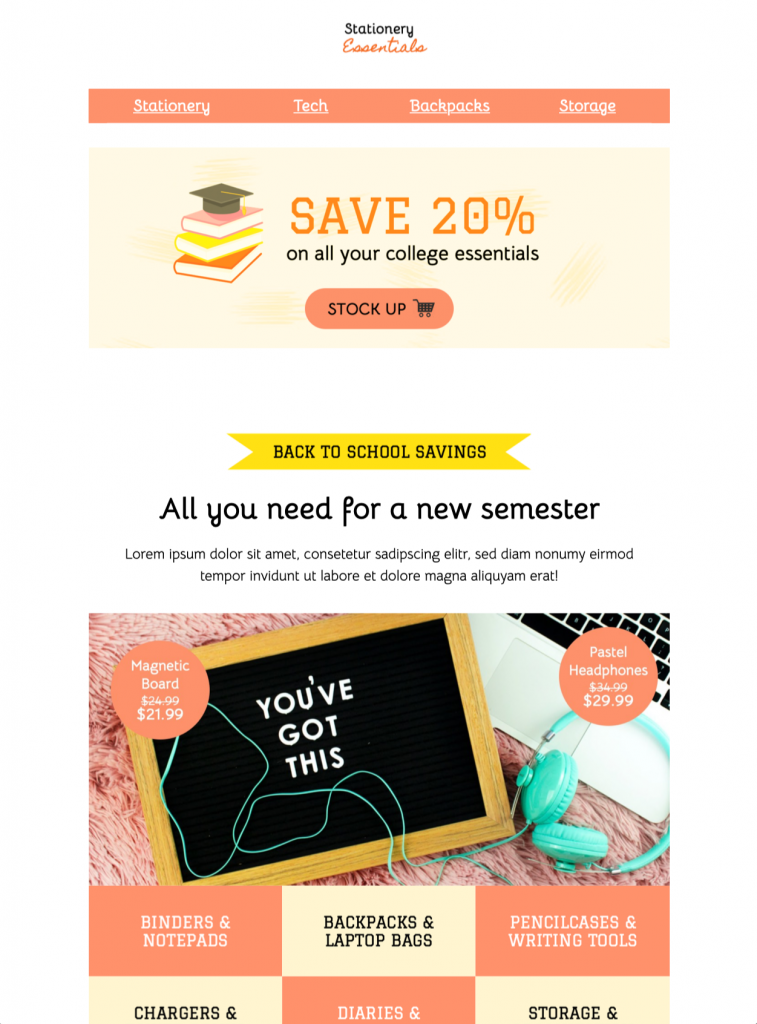 html email template for back to school promotions