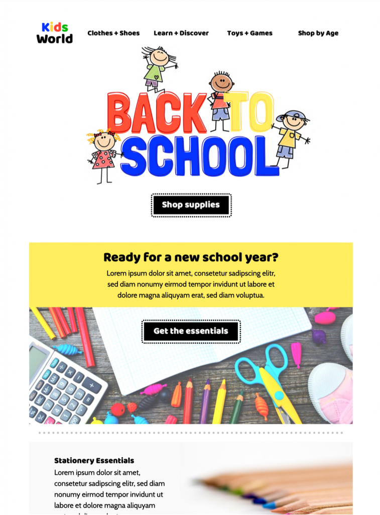 back to school shopping design idea