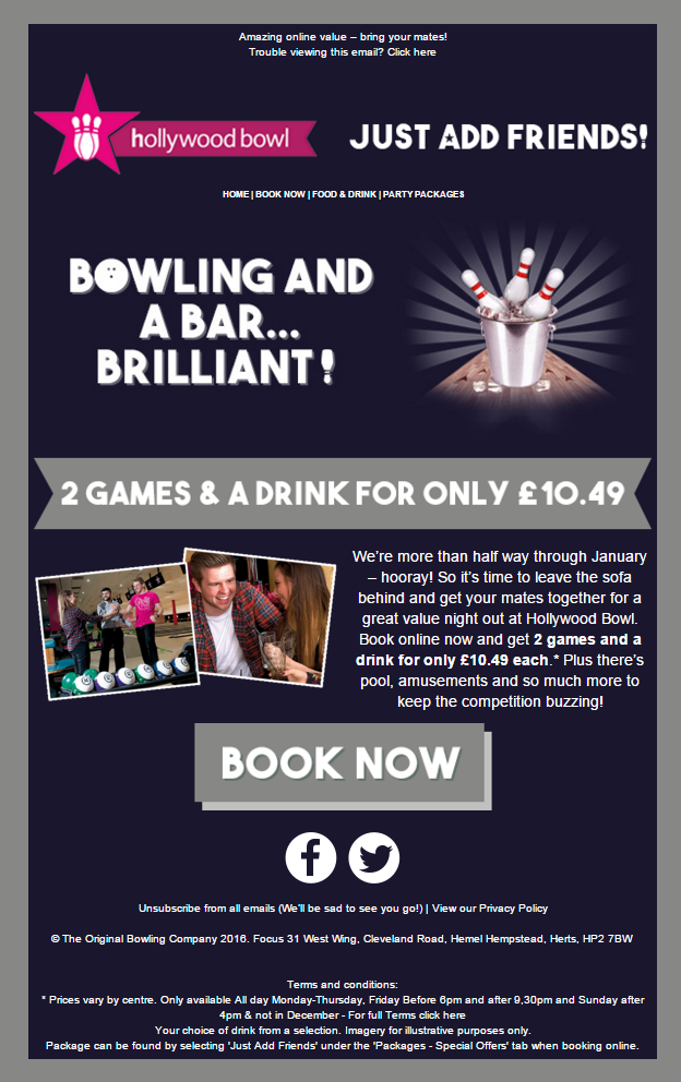 email promotion by Hollywood bowl bowling alley