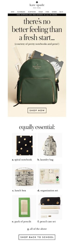 fun email campaign for back to school by Kate Spade