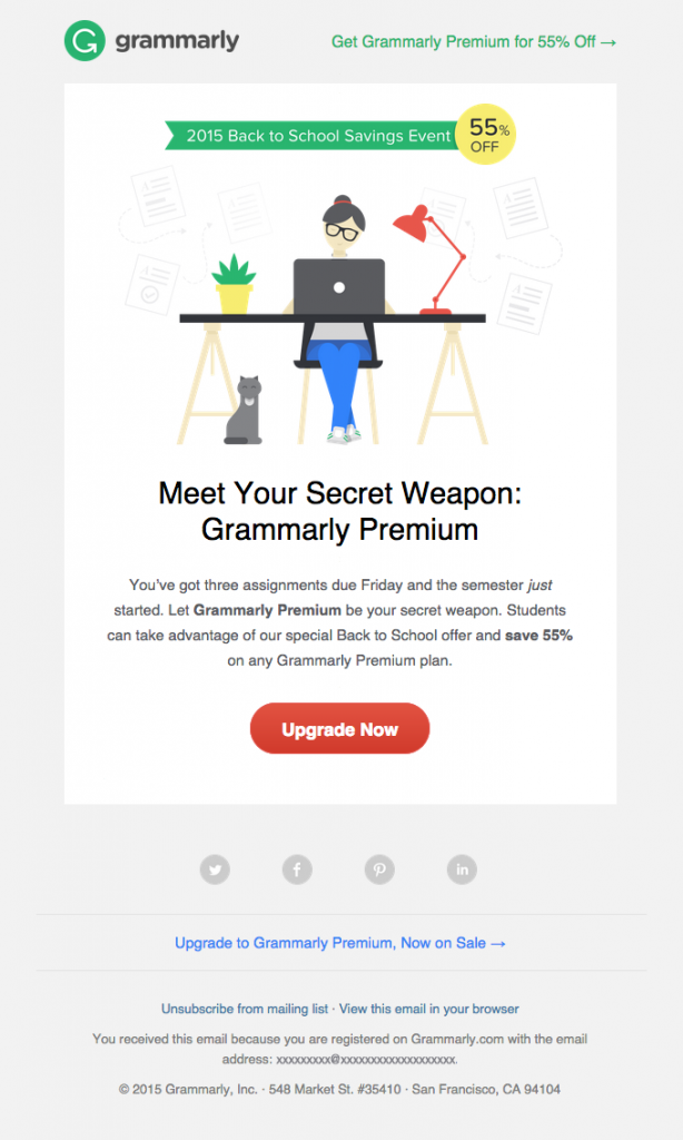 back to school promotion by grammarly