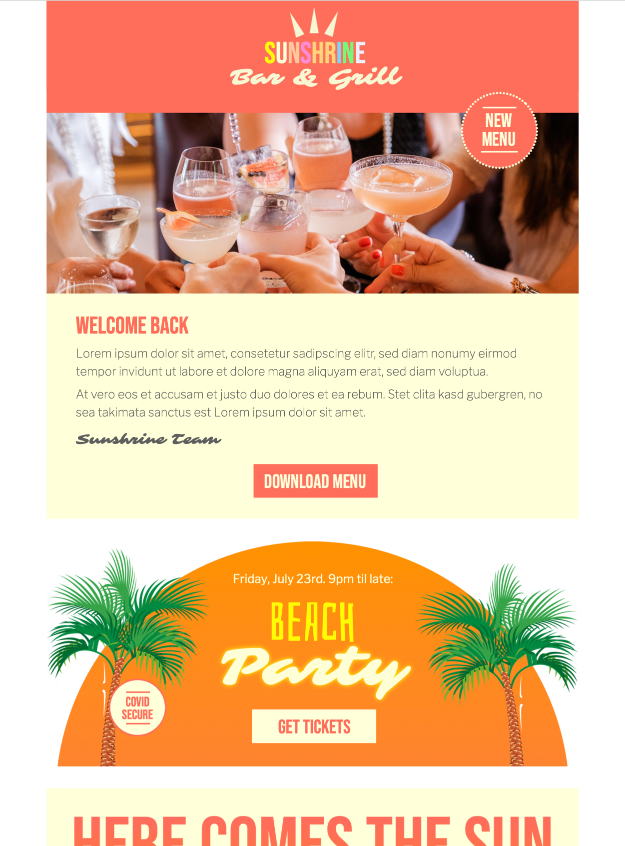 happy hour html email template for bars and restaurants
