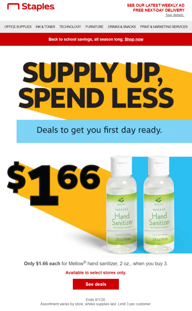 back to school email from Staples