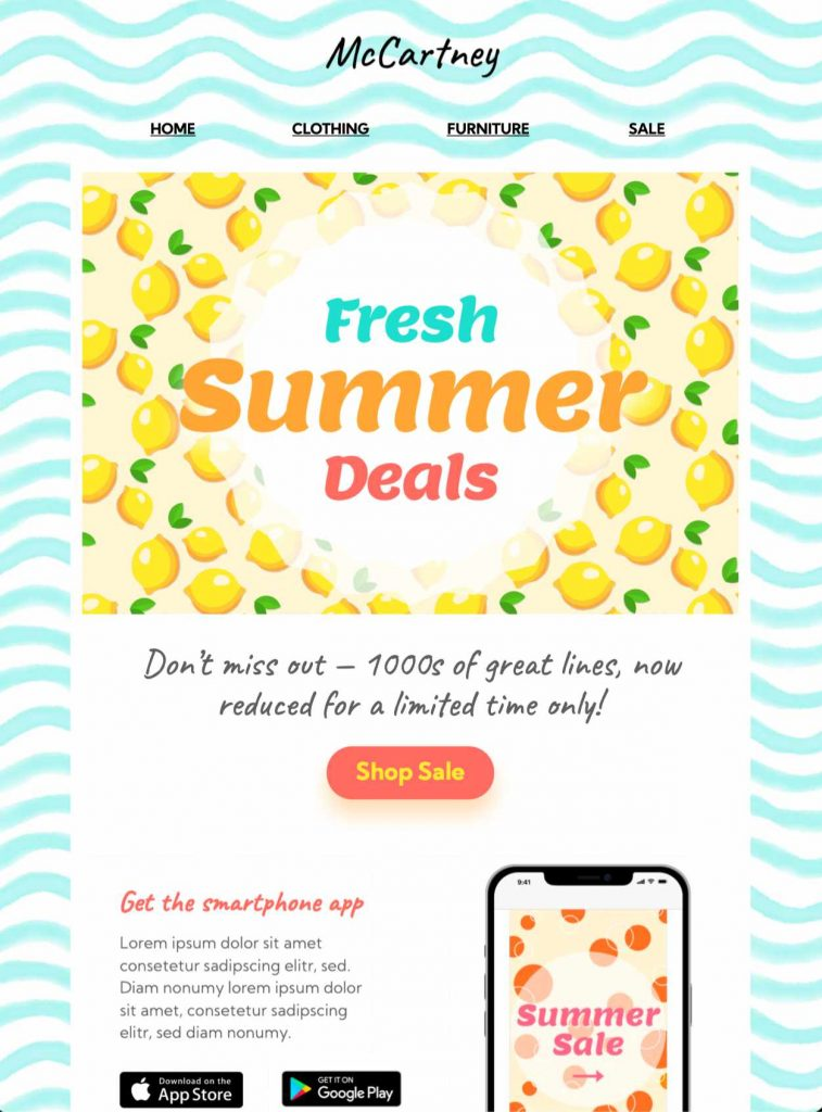 summer deals html email template in mail designer 365