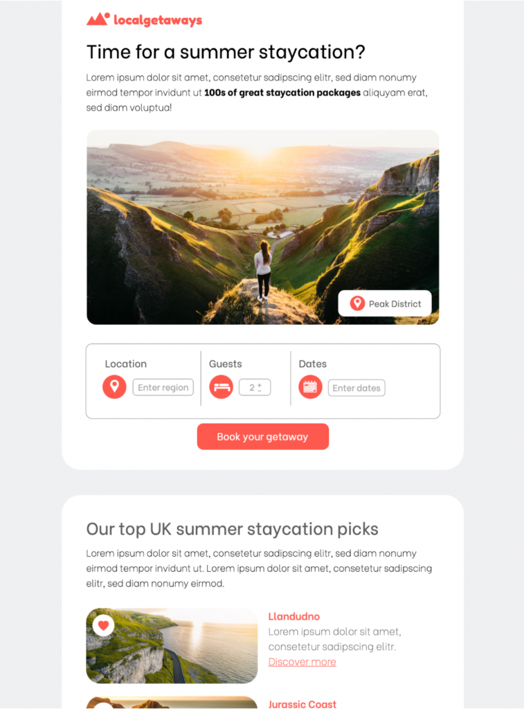 summer staycation email template in mail designer 365