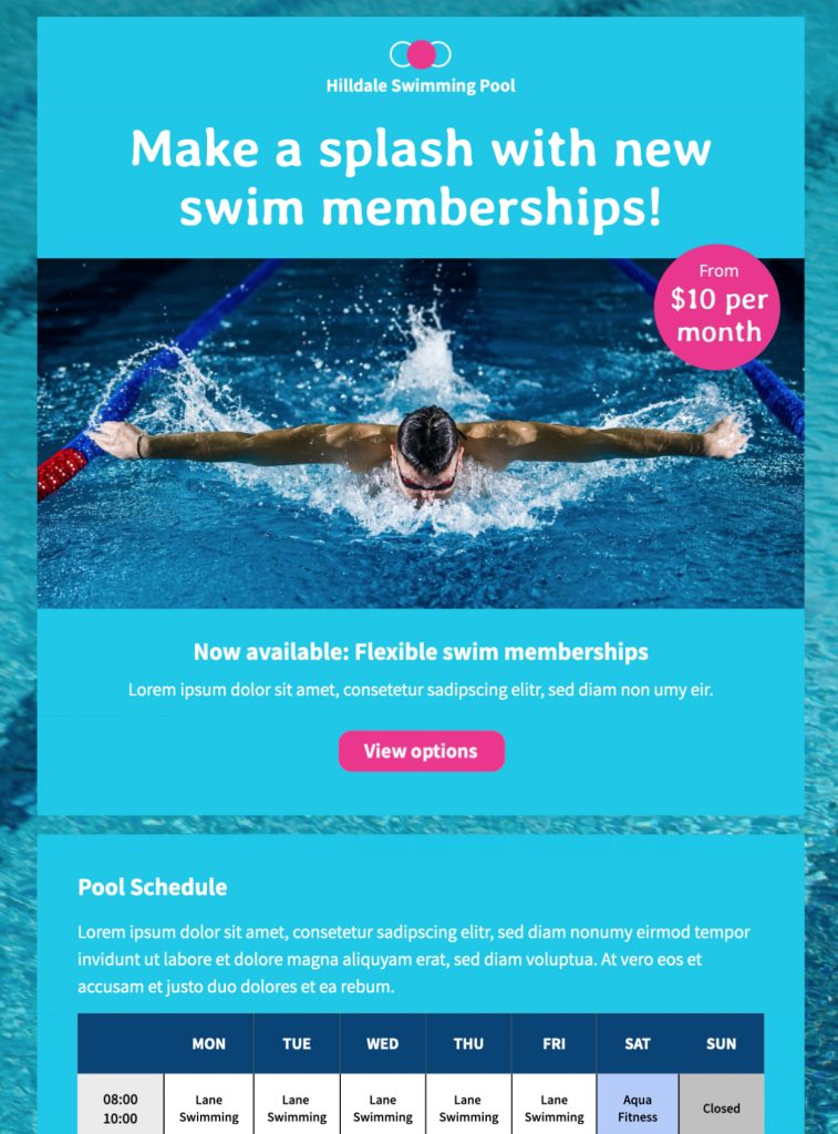 swimming pool schedule html email template