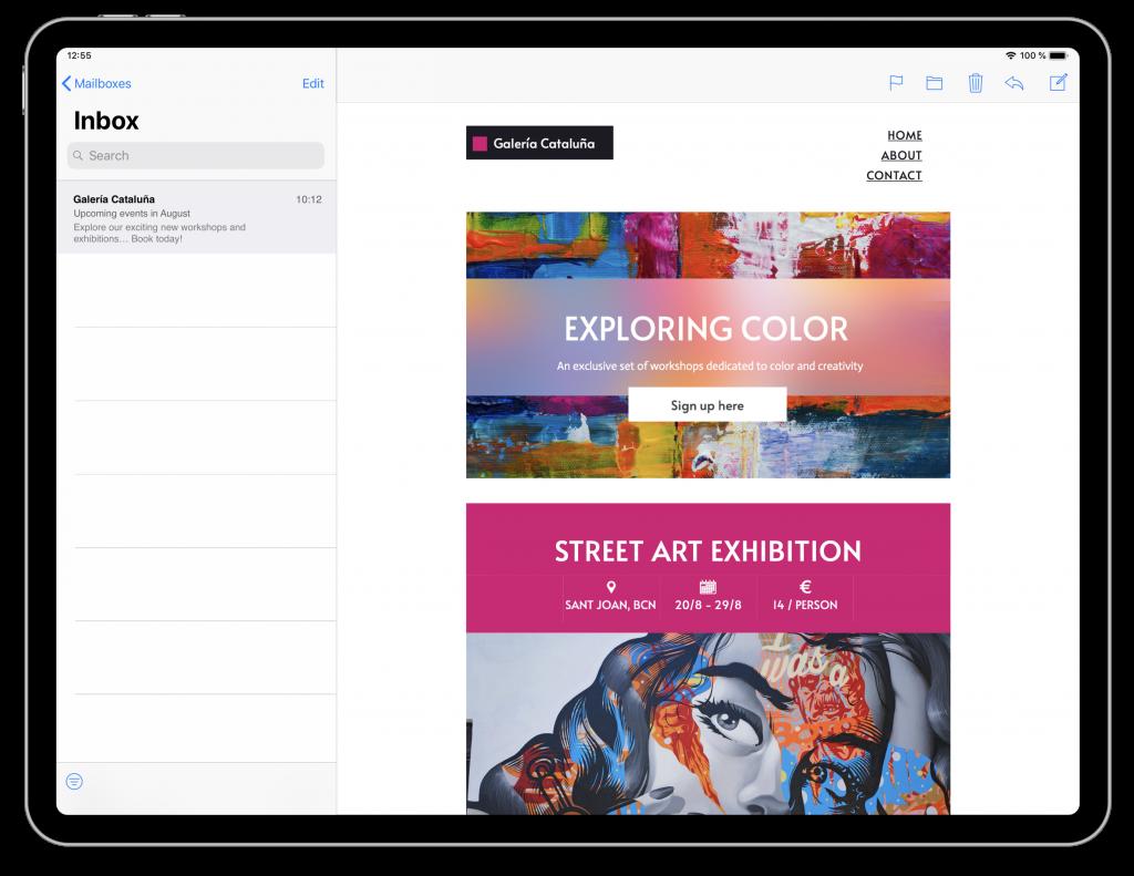 email design for art galleries in mail designer 365