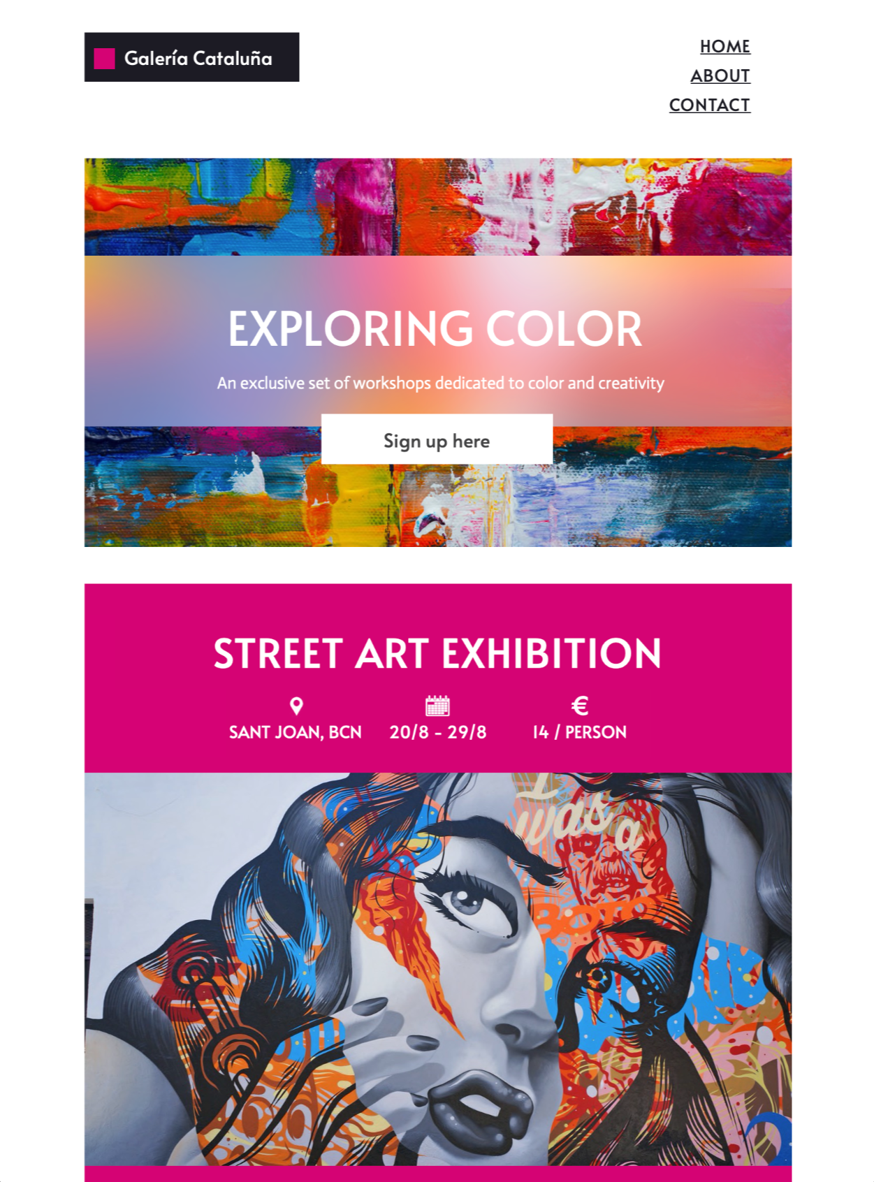 art event html email template