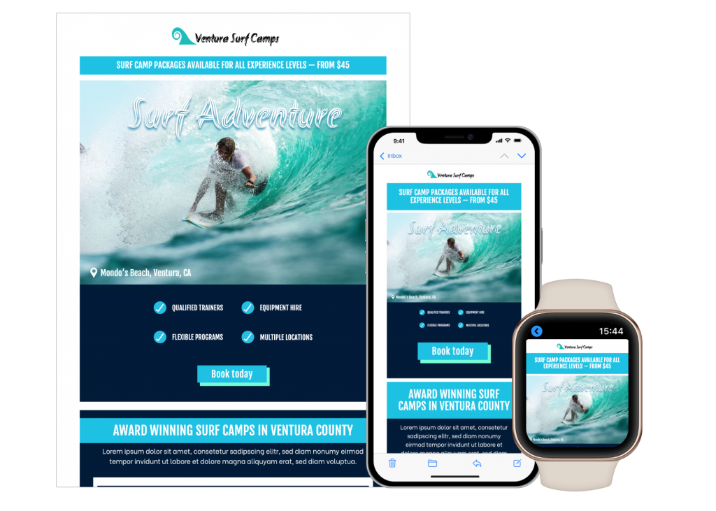 create mobile responsive email templates for the leisure sector