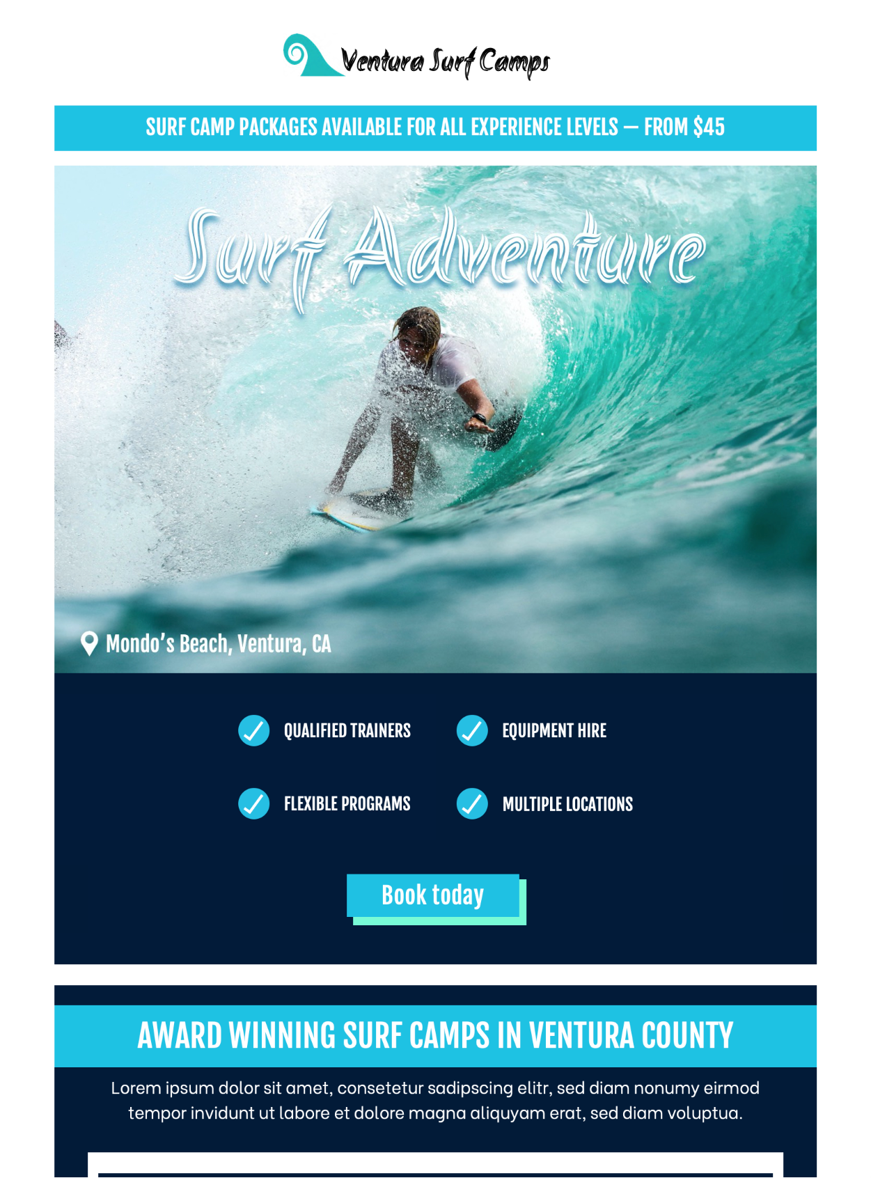 surf adventure html email template
