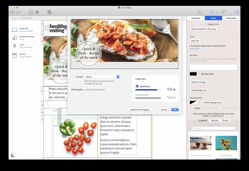 image optimization tools in mail designer 365
