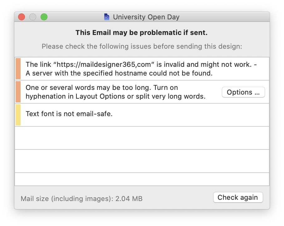 preflight check tool in mail designer 365