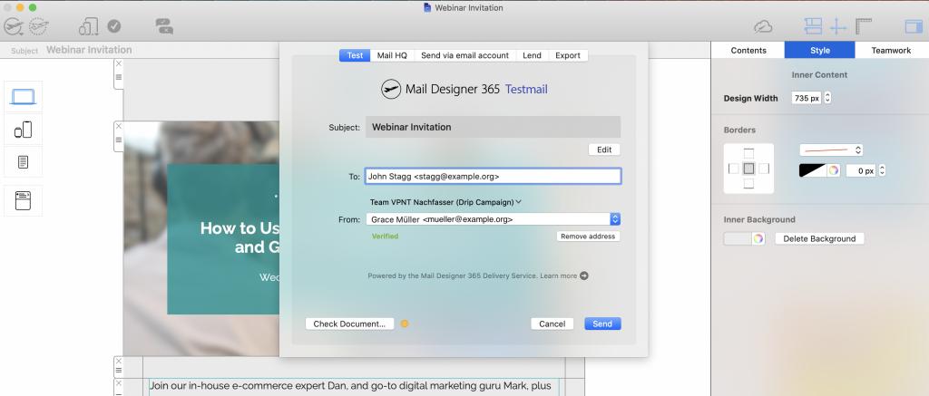 Testmail service in Mail Designer 365