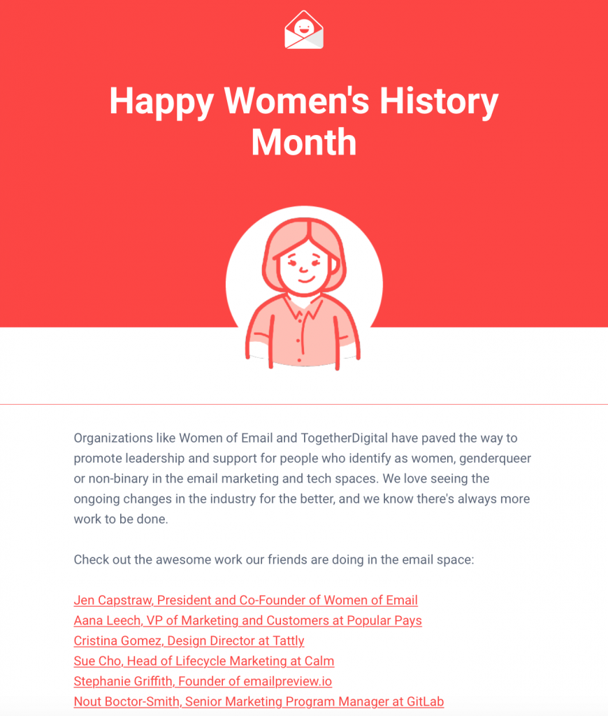 women's history month email by Really Good Emails