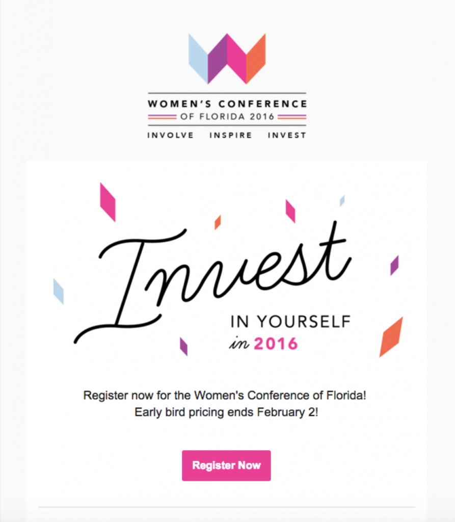 email campaign promoting a women's conference