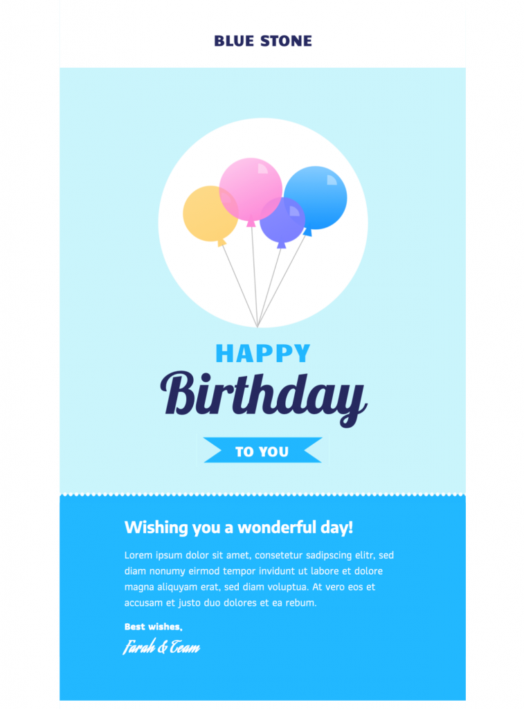 birthday message html email template