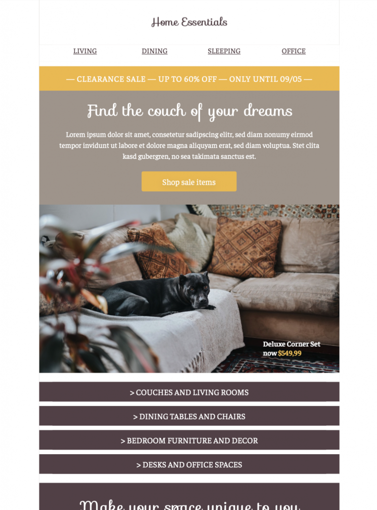 home essentials email template