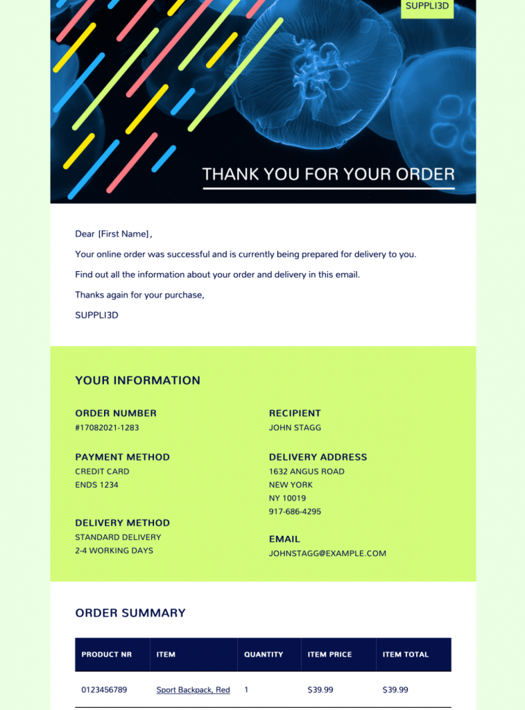 purchase confirmation table email template