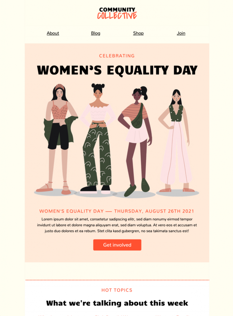 email template for women's equality day