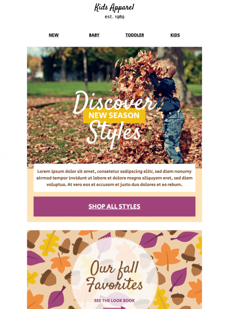 seasonal sales email template for autumn