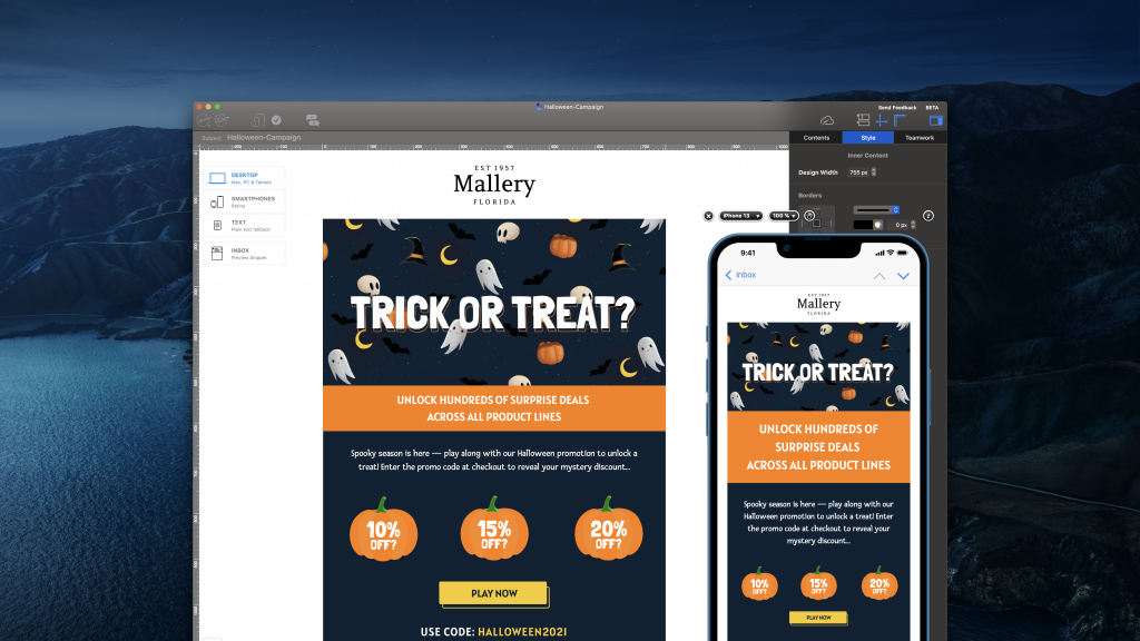 new halloween email templates in Mail Designer 365