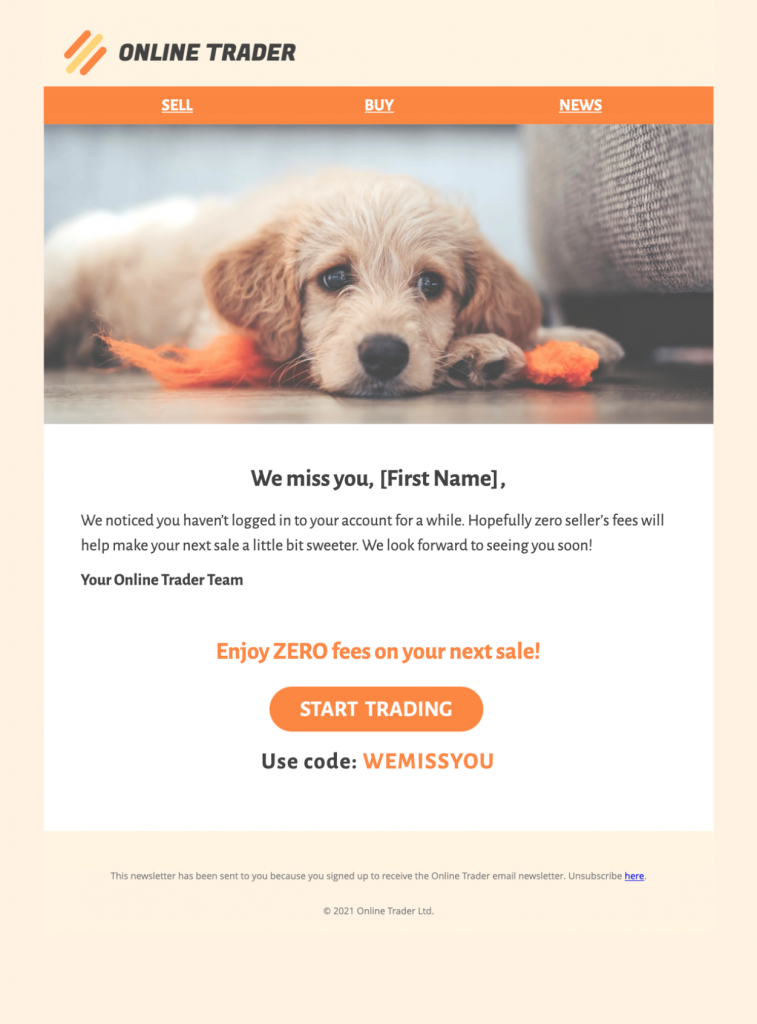html email template for reengagement campaigns with a sweet puppy motif