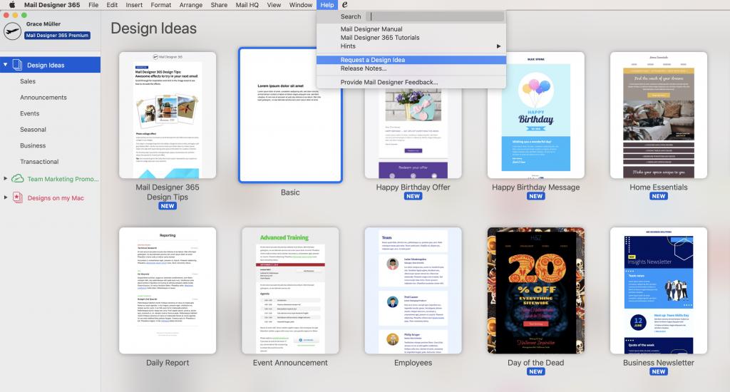 requesting a new design idea in mail designer 365