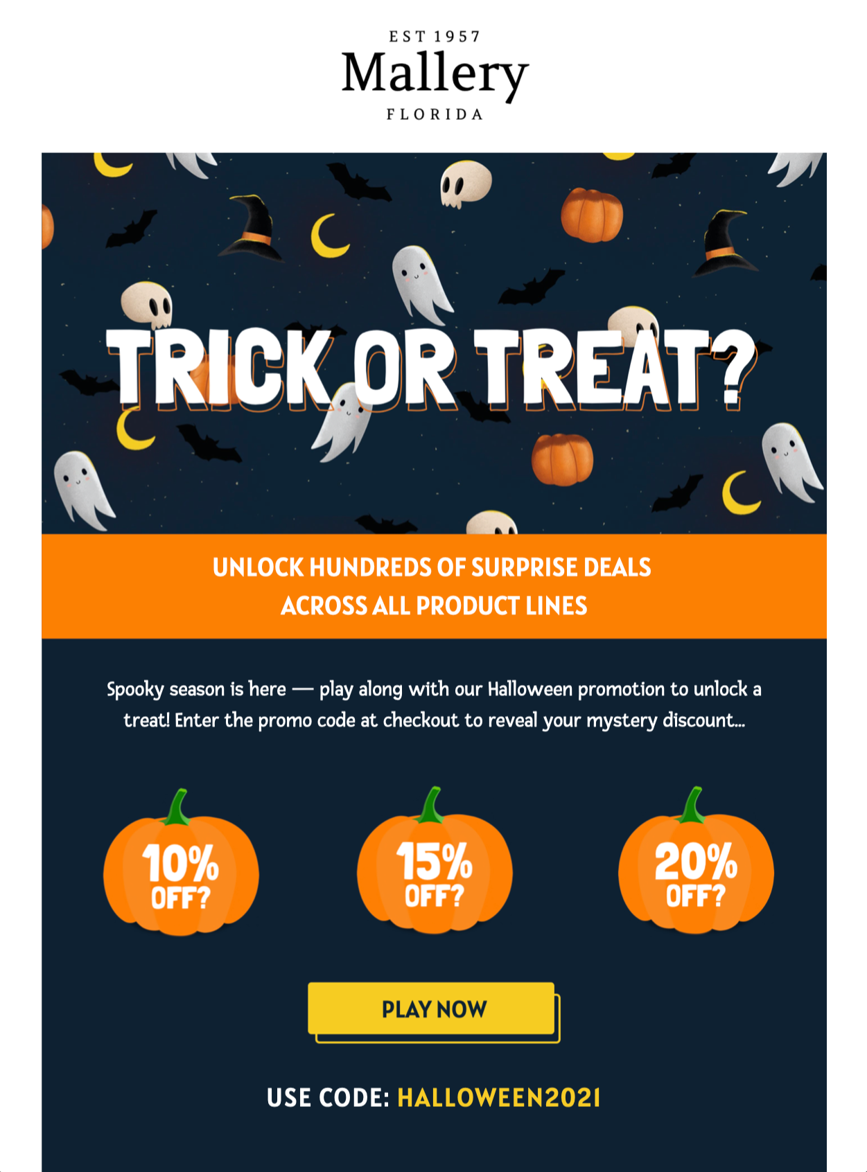 halloween email template with trick or treat design